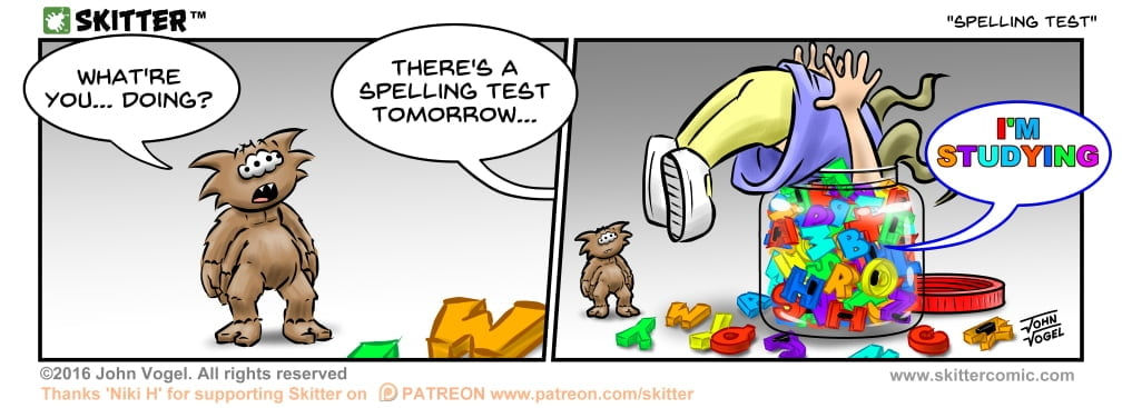 Skitter Comic | Spelling Test #157 | Spinwhiz Comics